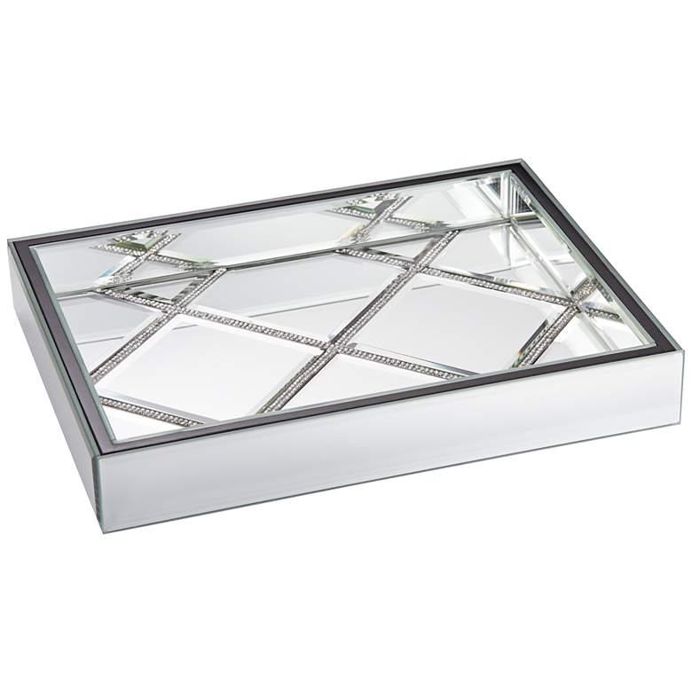 """Suprema 10 1/2"""" Wide Rhinestone Square Mirrored Tray"""