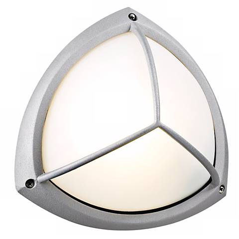 """PLC Silver Finish 10"""" Wide Ceiling or Wall Outdoor Light"""