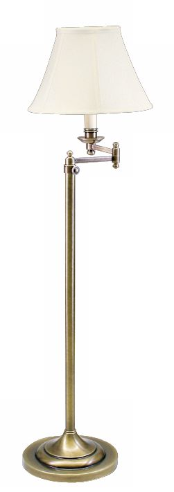 House Of Troy Club Collection Brass Swing Arm Floor Lamp