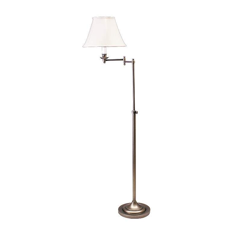 House of Troy Club Collection Swing Arm Silver Floor Lamp