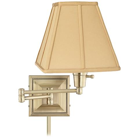 Tan Square Shade Brass Beaded Swing Arm with Cord Cover