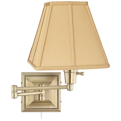 Tan Square-Cut Shade Brass Beaded Plug-In Swing Arm Wall Lamp