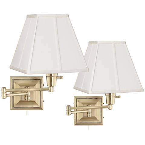 Set of 2 Brass Finish Ivory Shade Swing Arm Wall Lamps