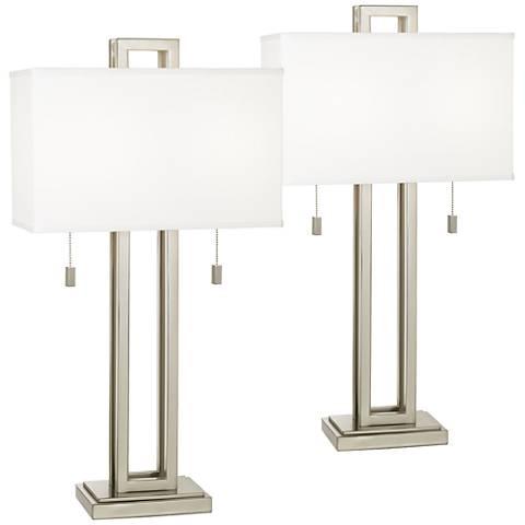 Gossard Brushed Nickel Rectangle Metal Table Lamp Set of 2