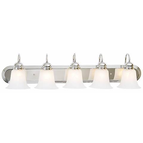 """Seneca 36"""" Wide Chrome Marbleized Glass 5-Light Bath Light"""