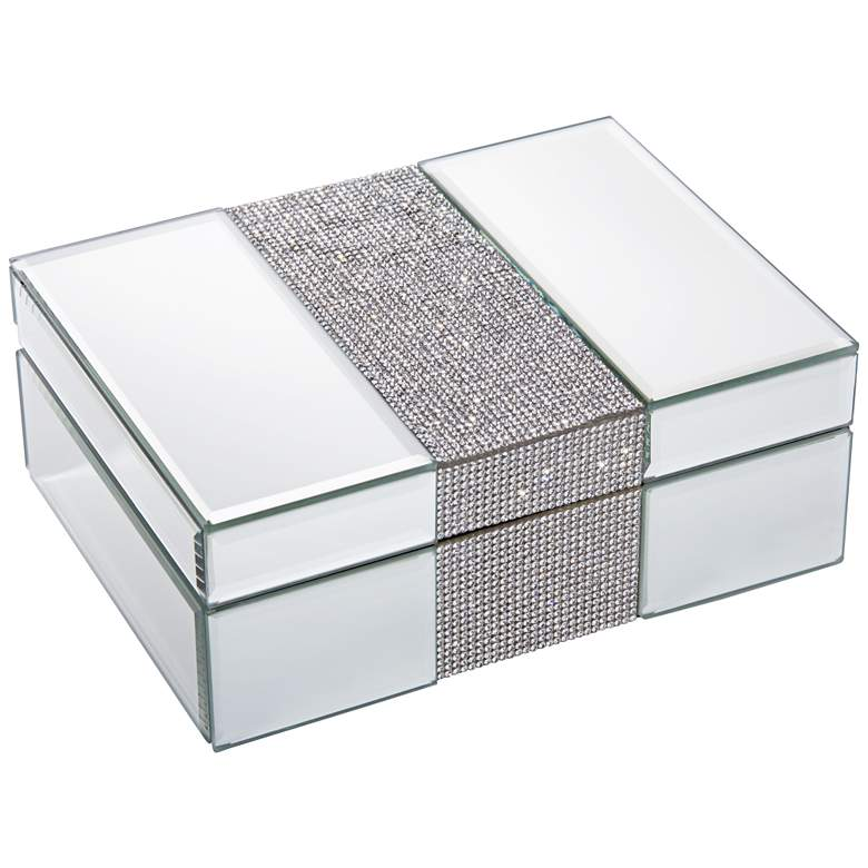 "Lyza Rhinestone 8 1/4"" Wide Mirrored Jewelry Box"