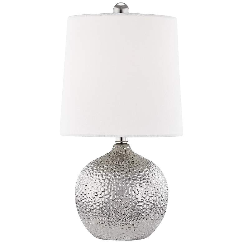 "Mitzi Heather 14 1/2"" High Silver Ceramic Accent Table Lamp"