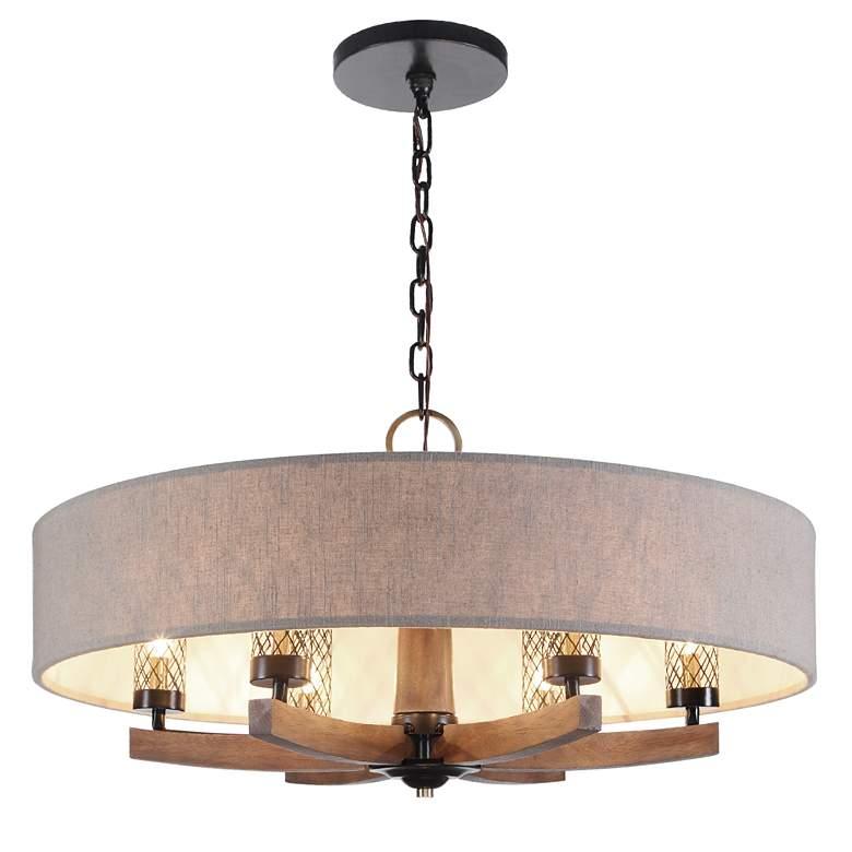 "Woodall 35 1/2""W Dark Bronze and Brown 6-Light Chandelier"