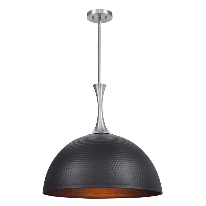 "Raynott 23 1/2""W Black Sand and Nickel Dome Pendant Light"