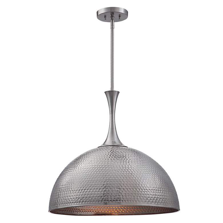 "Raynott 23 1/2"" Wide Brushed Nickel Dome Pendant Light"