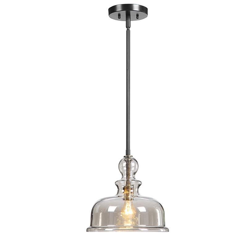 "Eaton 11 3/4""W Bronze and Antique Brass Mini Pendant Light"