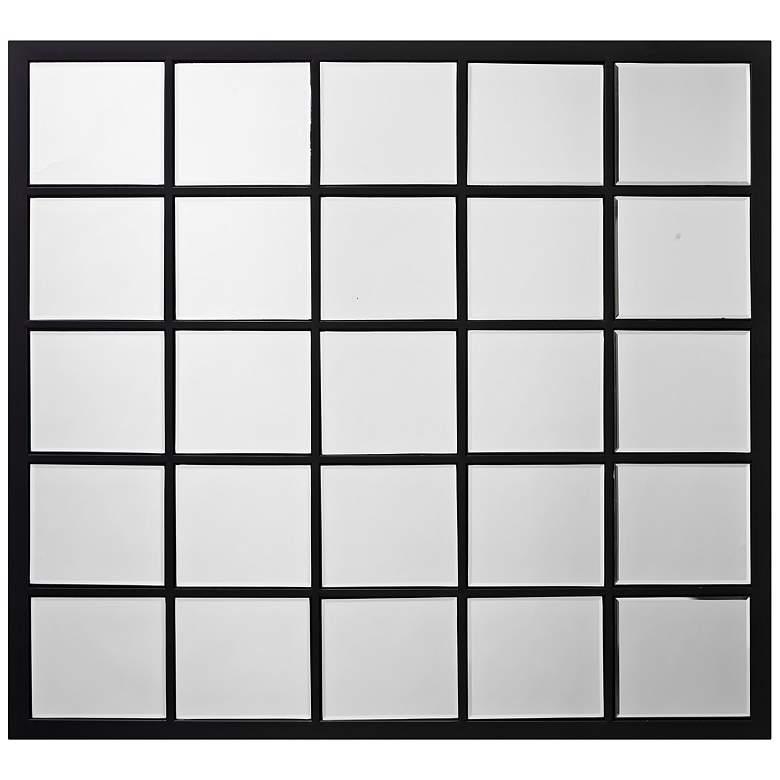 "Black 38"" x 34"" Rectangular Grid Wall Mirror"
