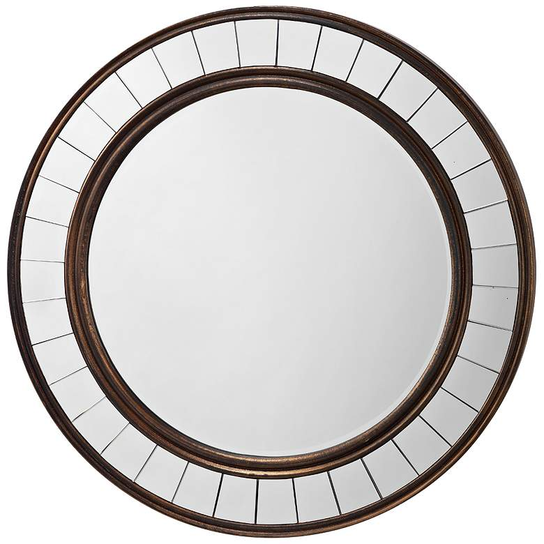 """Coltrane Bronze Wood 30 1/2"""" Round Wall Mirror"""