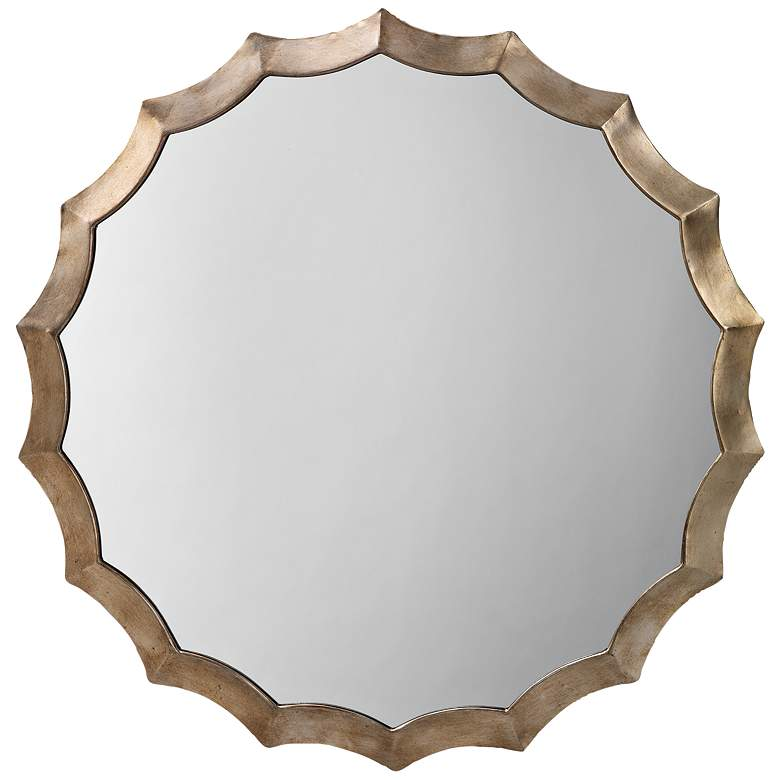 "Antique Silver 32"" Round Scalloped Wall Mirror"