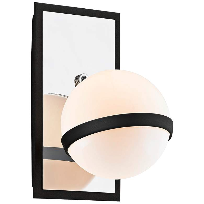 """Ace 9"""" High Carbide Black Wall Sconce with Gloss Opal Shade"""