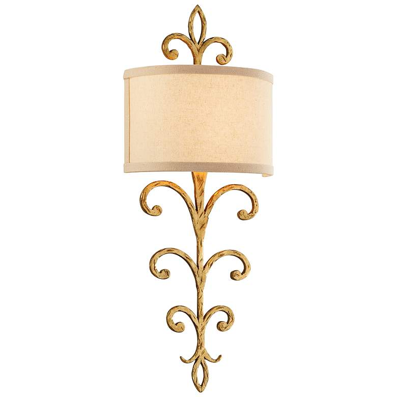 """Crawford 25 3/4"""" High Gold Scrollwork Metal Wall Sconce"""
