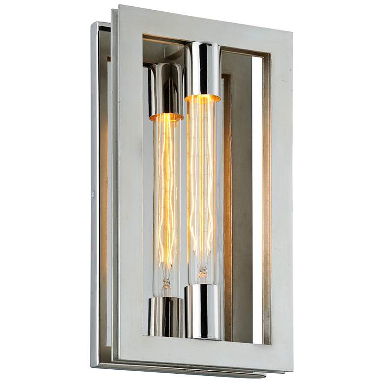"Enigma 14"" High Silver Leaf Rectangular Wall Sconce"