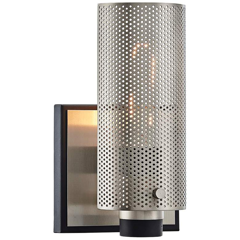 """Pilsen 8 1/2""""H Carbide Black and Plated Brass Wall Sconce"""