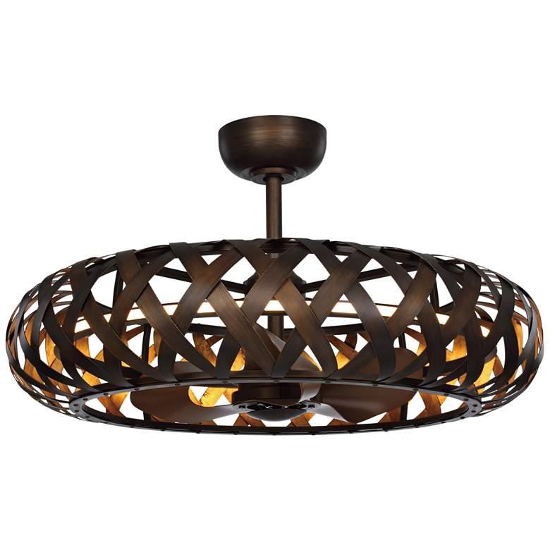 """33"""" Maxim Weave Bronze Gilt Gold LED Fandelier Ceiling Fan"""
