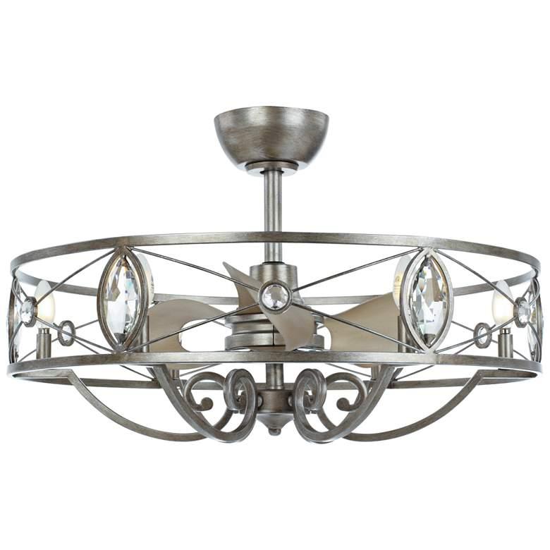 "31"" Maxim Solitaire Silver Crystal LED Fandelier Ceiling Fan"