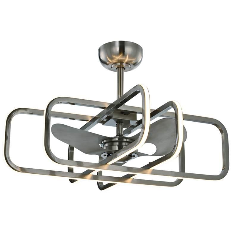 """35"""" Maxim Counter Satin Nickel LED Fandelier Ceiling Fan"""