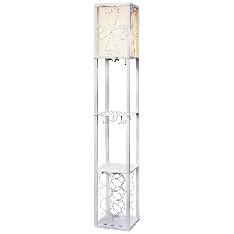 Simple Designs White Etagere Floor Lamp w/ Storage and Shelf
