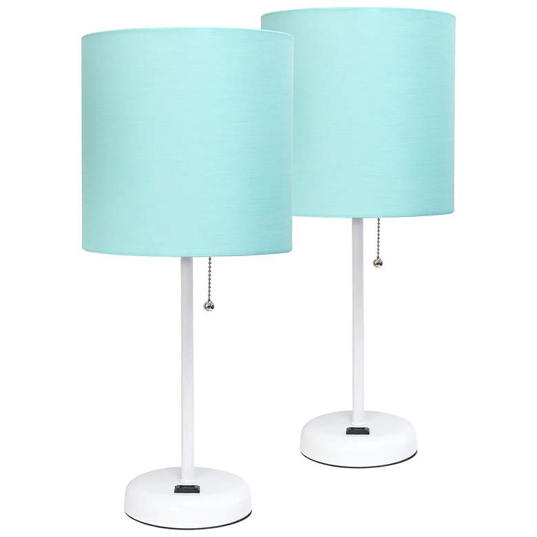 """LimeLights 19 1/2""""H White Aqua Accent Table Lamps Set of 2"""