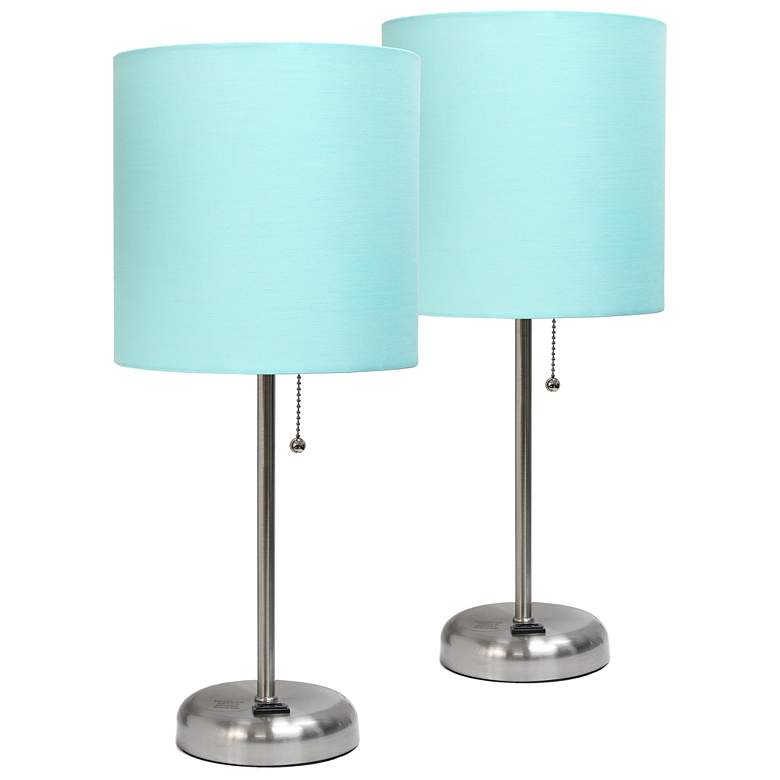 """LimeLights 19 1/2""""H Steel Aqua Accent Table Lamps Set of 2"""