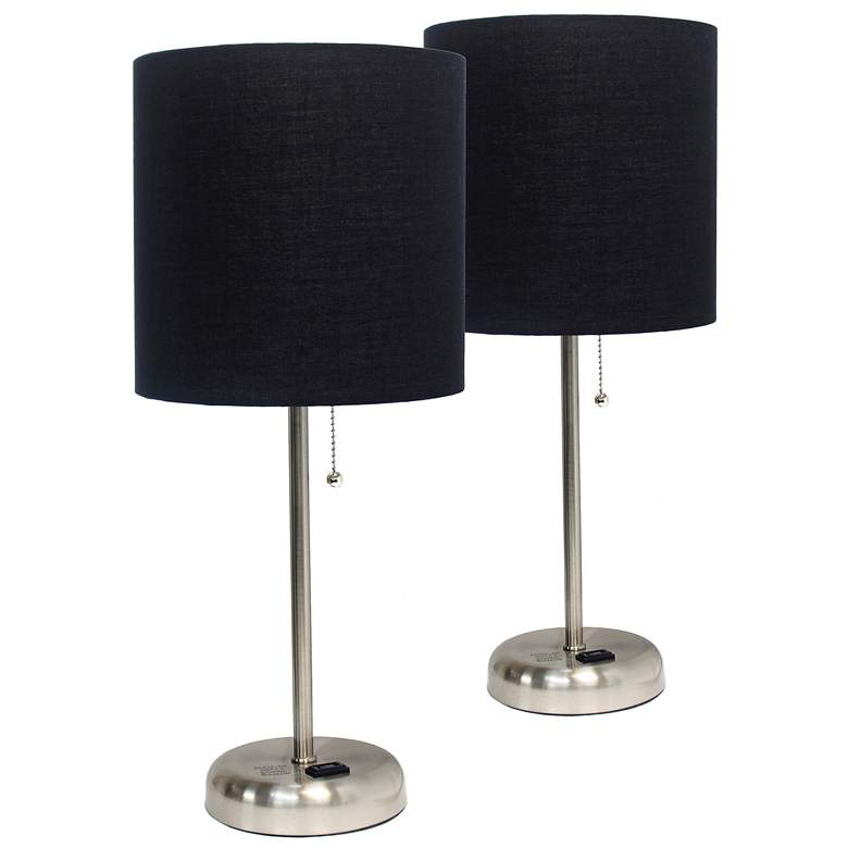 """LimeLights 19 1/2""""H Steel Black Accent Table Lamps Set of 2"""