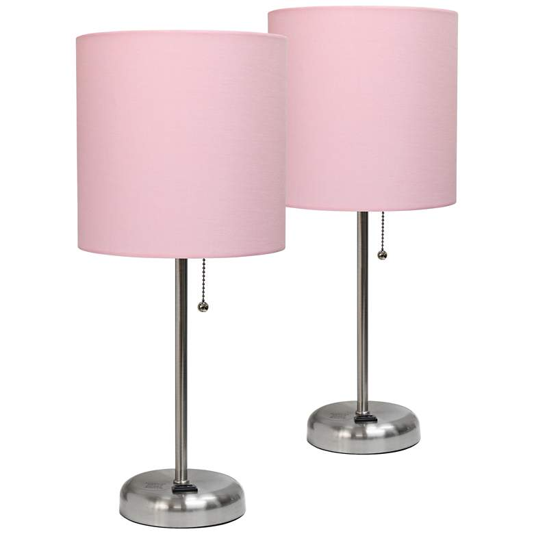 LimeLights Pink Power Outlet Table Lamps Set of 2