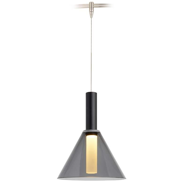 "Mezz 6 1/2""W Smoke Glass Bronze LED Monorail Mini Pendant"