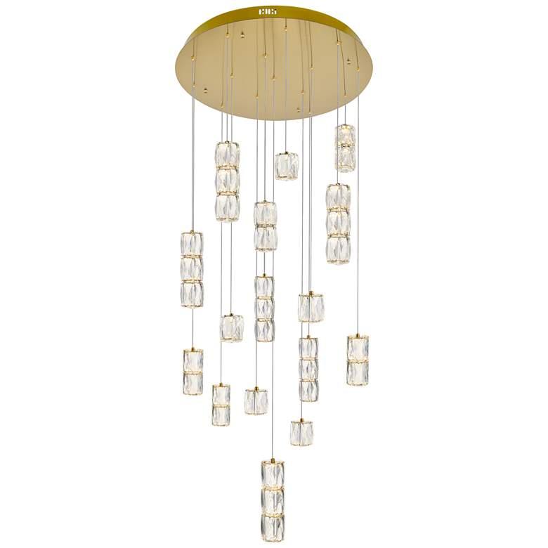 "Polaris 28"" Wide Gold and Crystal LED Multi Light Pendant"