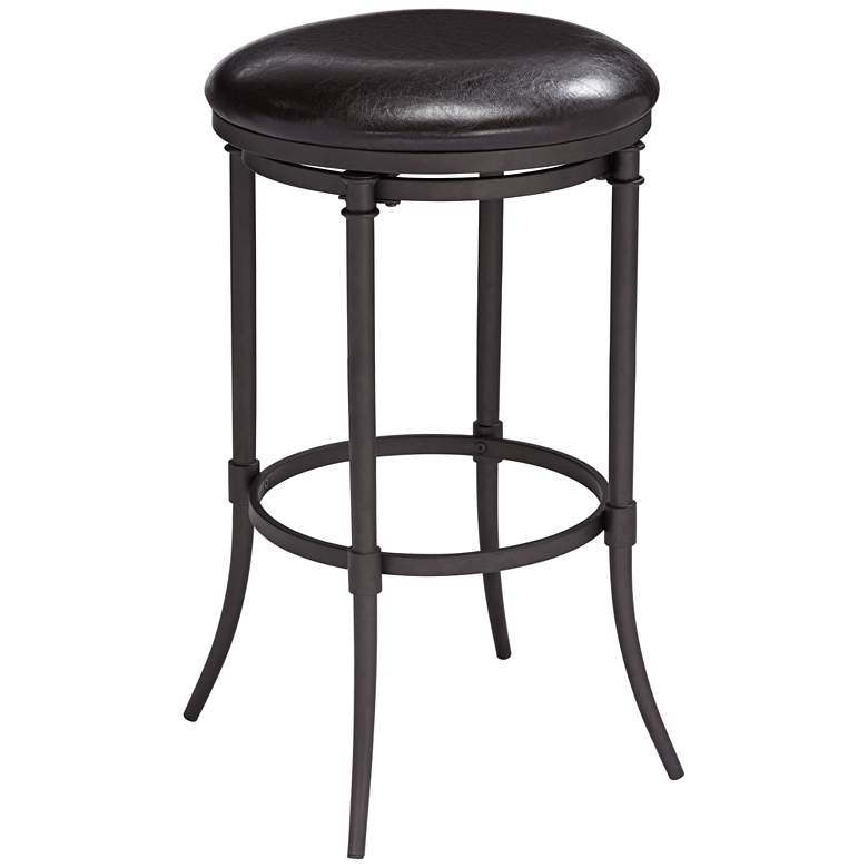 "Alton 29"" Black Faux Leather Swivel Counter Stool"
