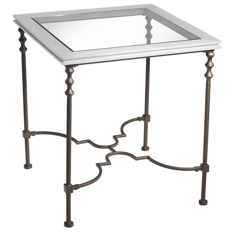 """Sheffield 22"""" Wide Bronze Distressed Wood End Table"""
