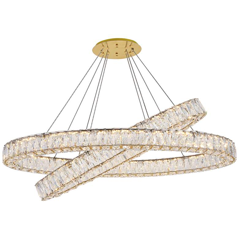 """Monroe 41"""" Wide Gold and Crystal 2-Tier Oval LED Chandelier"""