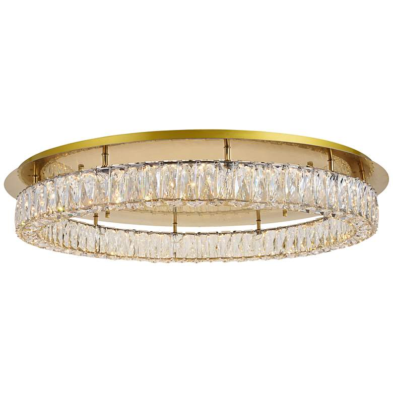 """Monroe 34"""" Wide Gold and Crystal LED Ceiling Light"""