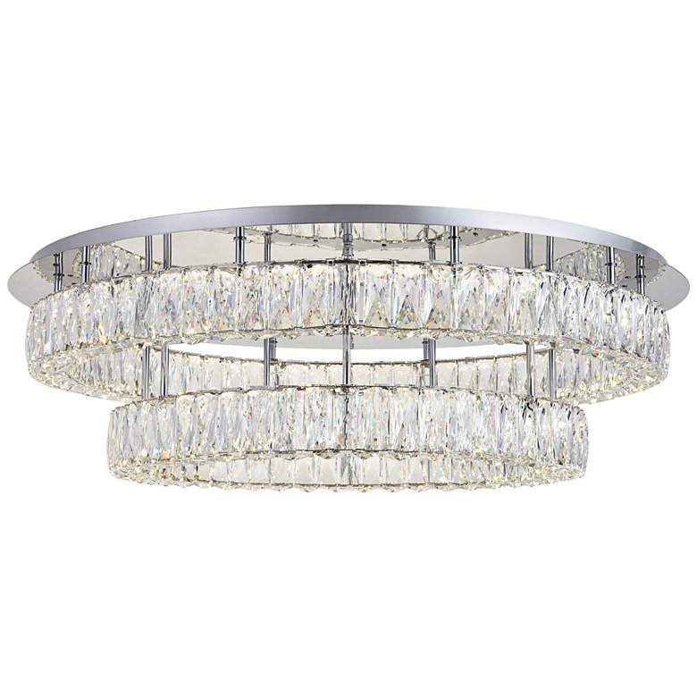 """Monroe 34"""" Wide Chrome and Crystal 2-Tier LED Ceiling Light"""