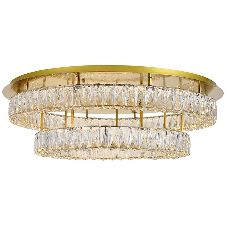"""Monroe 34"""" Wide Gold and Crystal 2-Tier LED Ceiling Light"""