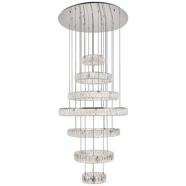 """Monroe 33 1/2"""" Wide Chrome and Crystal 7-Tier LED Chandelier"""