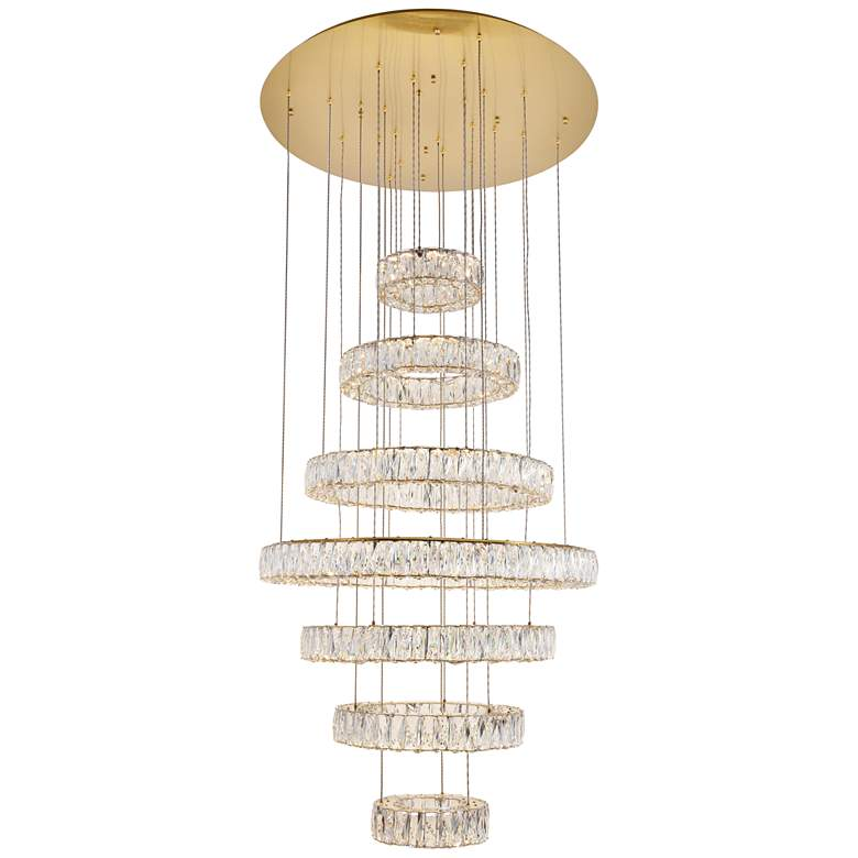 """Monroe 33 1/2"""" Wide Gold and Crystal 7-Tier LED Chandelier"""