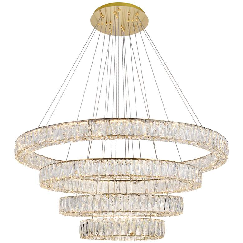"""Monroe 42"""" Wide Gold and Crystal 4-Tier LED Chandelier"""