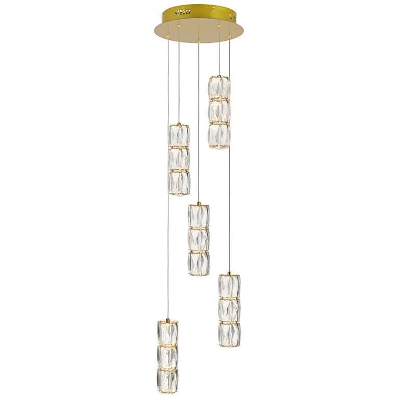 "Polaris 12"" Wide Gold and Crystal LED Multi Light Pendant"