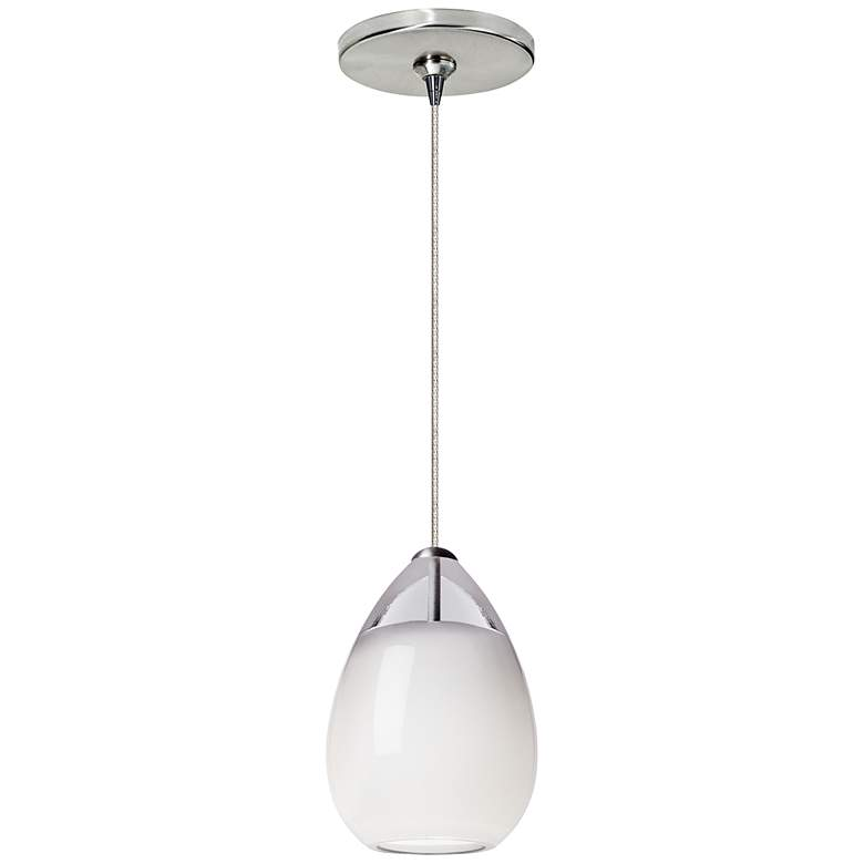 "Alina 4""W White Glass Satin Nickel LED Freejack"