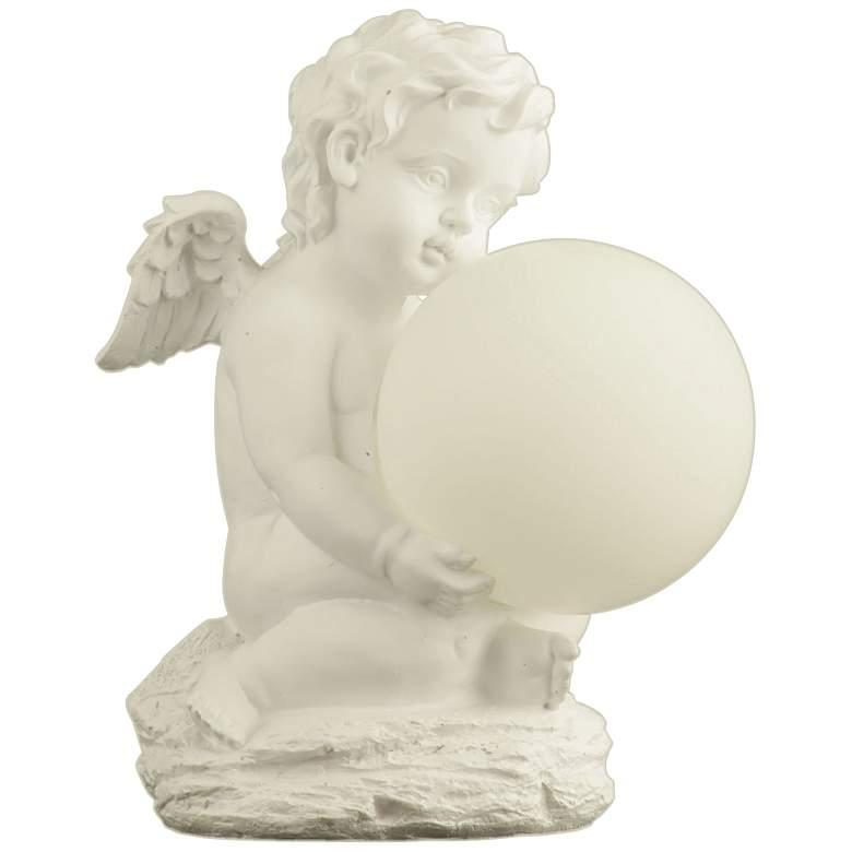 Cherub Angel Statue Globe Solar Garden Landscape Light