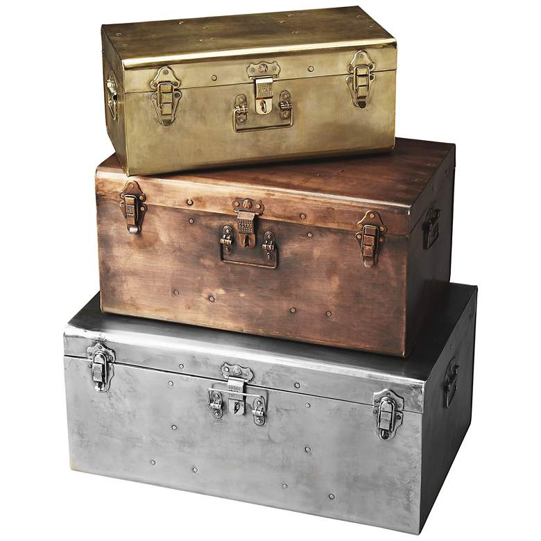 Butler Spirit Silver Bronze and Gold Iron Storage Trunk Set