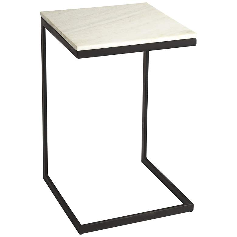 """Butler Lawler 14 1/4""""W Black Metal End Table with Marble Top"""