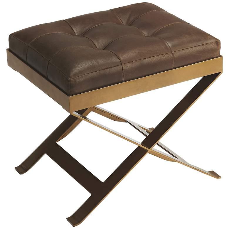 Butler Rodrigo Medium Brown Leather Tufted Accent Stool