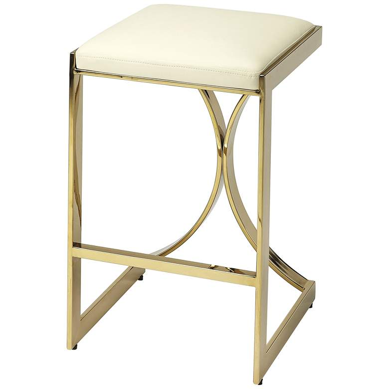 "Butler Natalya 24"" Polished Gold Backless Counter Stool"