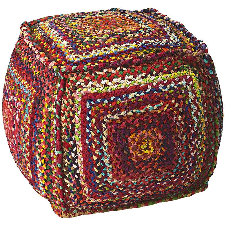 Butler Gypsy Multi-Color Braided Cotton Pouf Ottoman