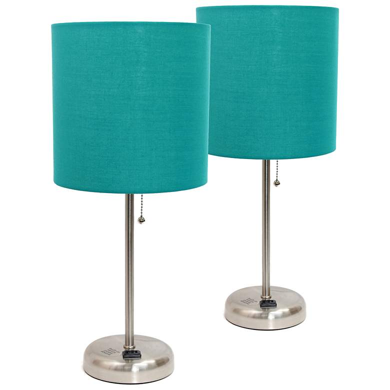 LimeLights Teal Green Power Outlet Table Lamps Set of 2